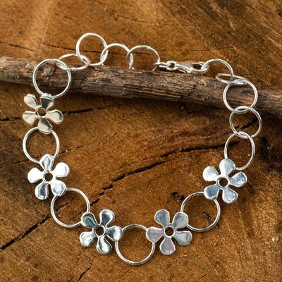 Sterling silver link bracelet, 'Flower Garland' - Hand Made Thai Silver Flower Bracelet