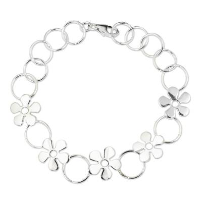 Hand Made Thai Silver Flower Bracelet