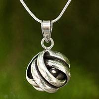 Sterling silver pendant necklace, 'Double Love Knot'