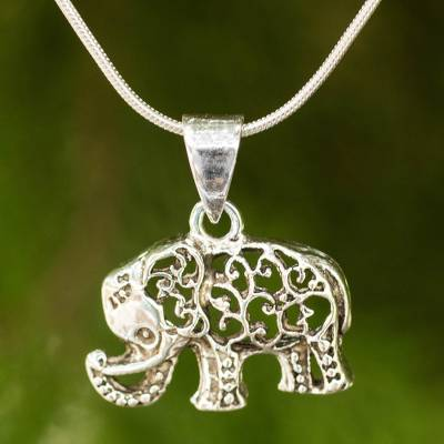 silver dp gold amazon sterling elephant and com diamond pendant rose necklace