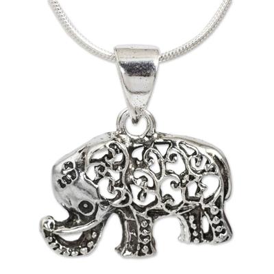 Sterling silver pendant necklace, 'Filigree Elephant' - Thai Elephant Necklace