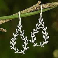 Sterling silver dangle earrings, 'Olive Wreaths' - Sterling Silver Handcrafted Earrings