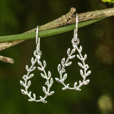 Sterling silver dangle earrings, 'Olive Wreaths' - Sterling Silver Handcrafted Earrings