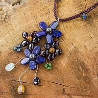 Garnet and lapis lazuli flower necklace, 'Midnight Bouquet' - Artisan Crafted Multi-gemstone Flower Necklace
