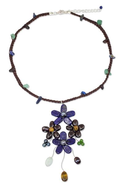 Artisan Crafted Multi-gemstone Flower Necklace