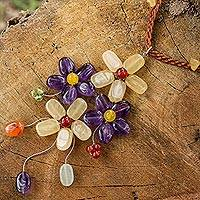 Amethyst flower necklace, 'Twilight Bouquet' - Unique Thai Beaded Gem Flower Necklace