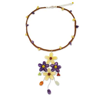 Artisan Crafted Multi-gemstone Flower Necklace