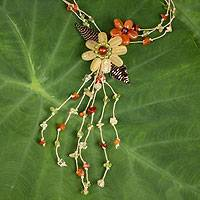 Carnelian and citrine flower necklace, 'Blossoming Comets' - Carnelian Citrine and Peridot Necklace Handcrafted Jewelry