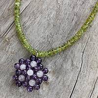 Amethyst and peridot pendant necklace, 'Grape Garden' - Handmade Thai Amethyst and Peridot Beaded Pendant Necklace