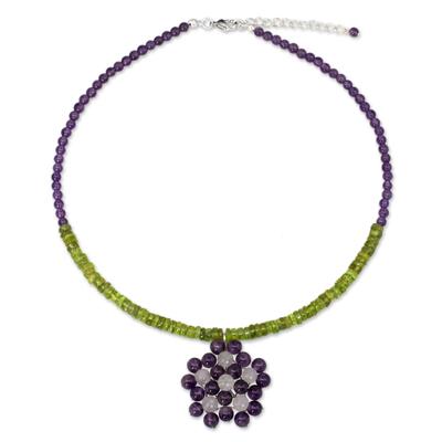 Handmade Thai Amethyst and Peridot Beaded Pendant Necklace