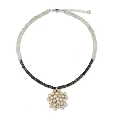 Handmade Thai Moonstone and Pearl Beaded Pendant Necklace