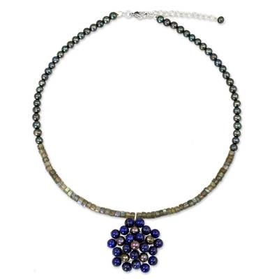 Handmade Thai Pearl and Lapis Beaded Pendant Necklace