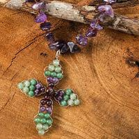 Amethyst and garnet pendant necklace, 'Precious Cross' - Thai Amethyst and Garnet Beaded Cross Necklace