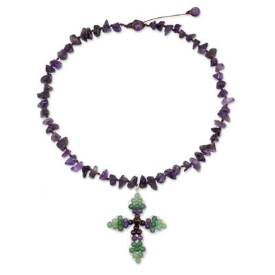 Thai Amethyst and Garnet Beaded Cross Necklace