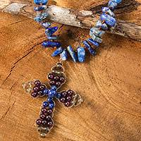 Lapis and garnet pendant necklace, 'Precious Cross' - Thai Lapis and Garnet Beaded Cross Necklace