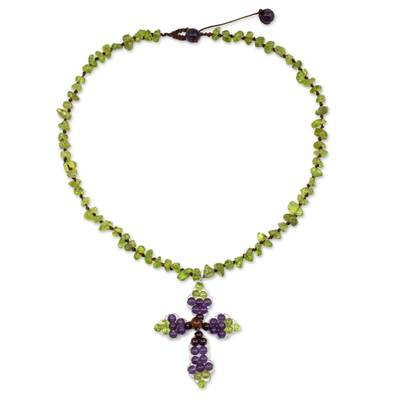 Thai Peridot and Amethyst Beaded Cross Necklace