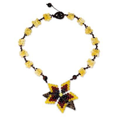Thai Garnet and Carnelian Beaded Gemstone Necklace