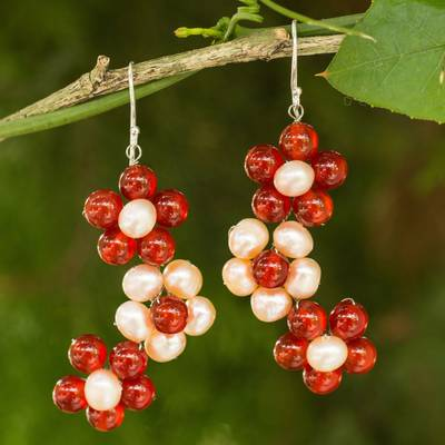Cultured pearl and carnelian flower earrings, Bright Bouquet