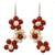 Cultured pearl and carnelian flower earrings, 'Bright Bouquet' - Handmade Pearl and Carnelian Flower Earrings (image 2a) thumbail
