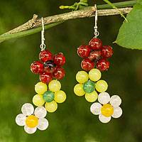 Quartz and carnelian flower earrings, 'Spring Bouquet' - Handmade Quartz and Carnelian Flower Earrings