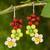 Quartz and carnelian flower earrings, 'Spring Bouquet' - Handmade Quartz and Carnelian Flower Earrings thumbail