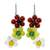 Quartz and carnelian flower earrings, 'Spring Bouquet' - Handmade Quartz and Carnelian Flower Earrings (image 2a) thumbail