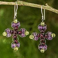 Amethyst and garnet dangle earrings, 'Precious Cross' - Thai Amethyst and Garnet Beaded Cross Earrings