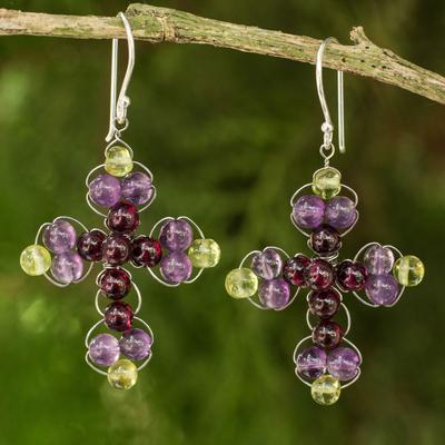 Amethyst and garnet dangle earrings, 'Precious Cross' - Thai Amethyst and Garnet Beaded Cross Earrings