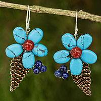 Carnelian and lapis lazuli flower earrings, 'Thai Petals' - Thai Carnelian and Lapis Lazuli Beaded Flower Earrings