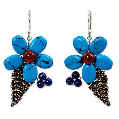 Thai Carnelian and Lapis Lazuli Beaded Flower Earrings