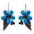 Carnelian and lapis lazuli flower earrings, 'Thai Petals' - Thai Carnelian and Lapis Lazuli Beaded Flower Earrings (image 2a) thumbail