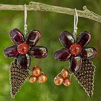 Cultured pearl and garnet flower earrings, 'Thai Petals' - Thai Cultured Pearl and Garnet Beaded Flower Earrings