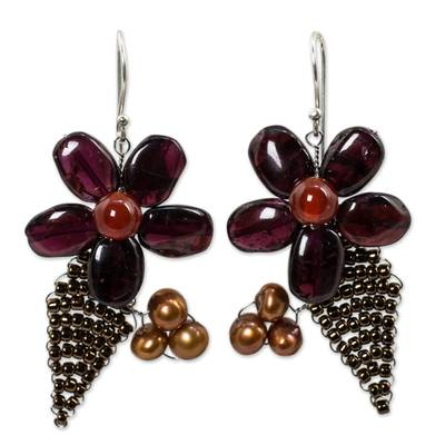 Thai Cultured Pearl and Garnet Beaded Flower Earrings