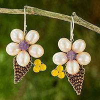 Cultured pearl and amethyst flower earrings, 'Thai Petals' - Thai Cultured Pearl and Amethyst Beaded Flower Earrings