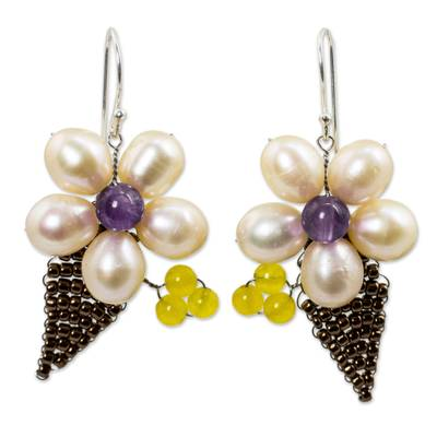 Thai Cultured Pearl and Amethyst Beaded Flower Earrings