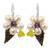 Cultured pearl and amethyst flower earrings, 'Thai Petals' - Thai Cultured Pearl and Amethyst Beaded Flower Earrings (image 2a) thumbail