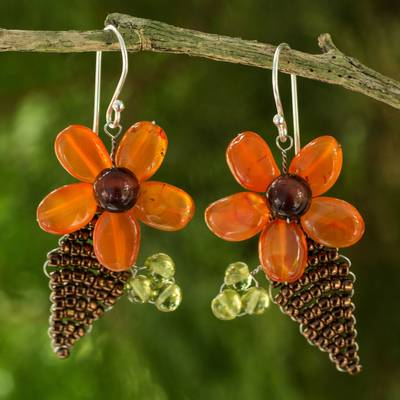 Carnelian and peridot flower earrings, 'Thai Petals' - Thai Carnelian and Peridot Beaded Flower Earrings