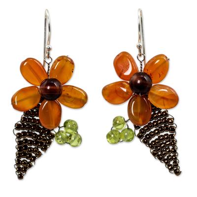 Thai Carnelian and Peridot Beaded Flower Earrings