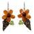 Carnelian and peridot flower earrings, 'Thai Petals' - Thai Carnelian and Peridot Beaded Flower Earrings (image 2a) thumbail