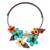 Carnelian and aventurine flower necklace, 'Blue Ginger Bouquet' - Fair Trade Multi Gemstone Necklace Floral Jewelry (image 2a) thumbail