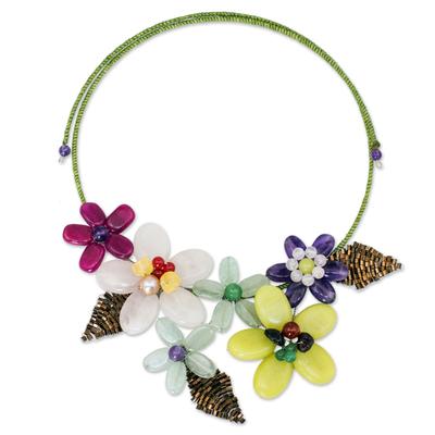 Amethyst and quartz flower necklace, 'Purple Yellow Bouquet' - Artisan Crafted Multi-gemstone Flower Necklace