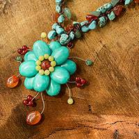 Aventurine and carnelian choker, 'Blue Bloom' - Handcrafted Aventurine Quartz and Carnelian Choker