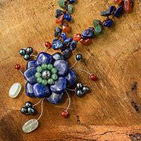 Lapis lazuli and carnelian choker, 'Ocean Bloom'