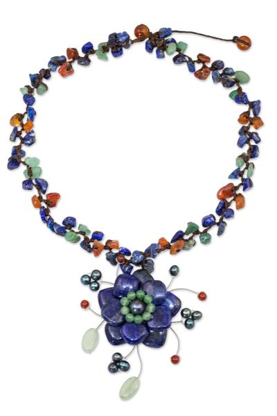 Lapis lazuli and carnelian choker, 'Ocean Bloom' - Thai Handmade Gemstone Choker