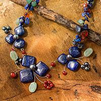 Lapis lazuli and aventurine choker, 'Blue Clover' - Handmade Lapis Lazuli and Aventurine Floral Necklace