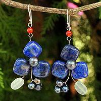 Lapis lazuli and aventurine dangle earrings, 'Blue Clover' - Handmade Lapis Lazuli and Aventurine Floral Earrings