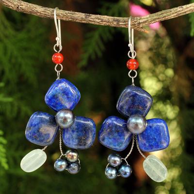 Lapis lazuli and aventurine dangle earrings, 'Blue Clover' - Handmade Lapis Lazuli and Aventurine Floral Earrings