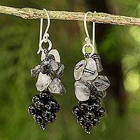 Tourmalinated quartz and onyx cluster earrings, 'Heavenly Gift' - Handmade Womens Gemstone Earrings