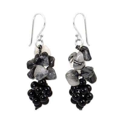 Tourmalinated quartz and onyx cluster earrings, 'Heavenly Gift' - Handmade Gemstone Cluster Earrings