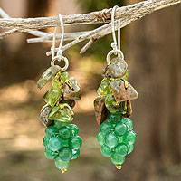 Peridot and unakite cluster earrings, 'Heavenly Gift' - Handmade Unakite and Peridot Cluster Earrings